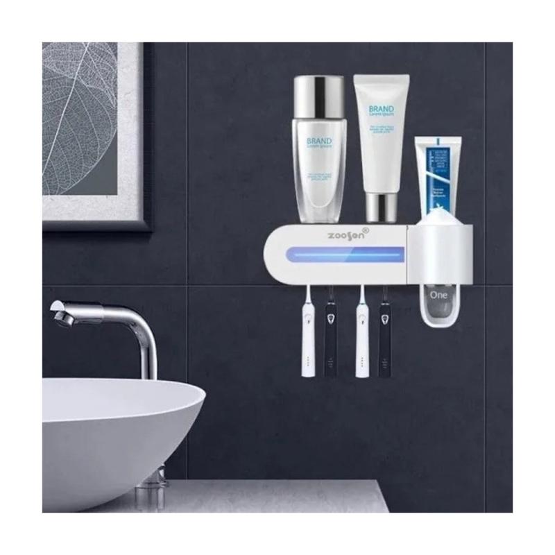 Négyállásos fogkefesterilizáló tartódokk, fogkrémadagolóval (ZSW-Y01)