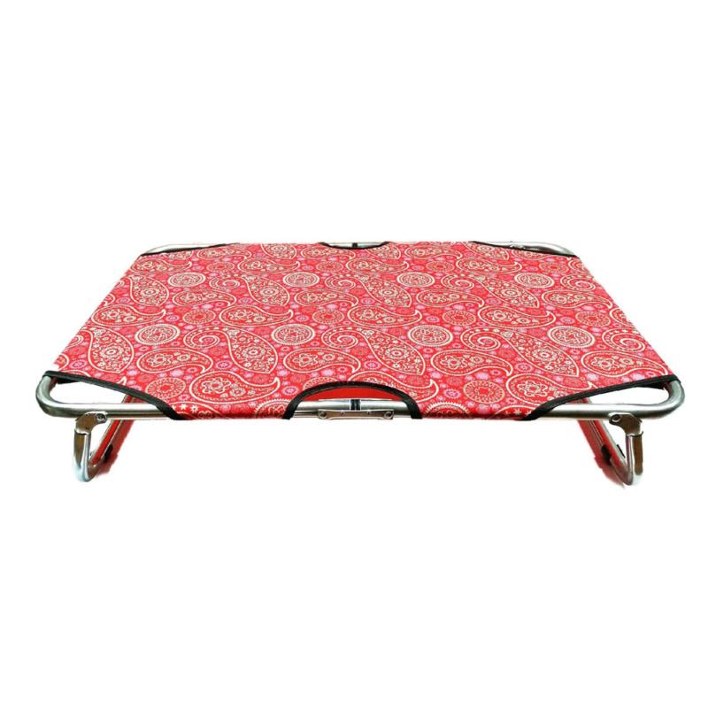 L-es összecsukható kutyaágy / fémvázas kutyafekhely, piros – 100x60 cm