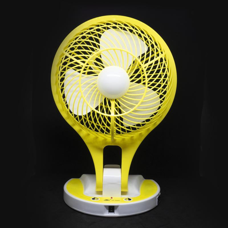 Dönthető asztali ventilátor / akkuulátoros, led világítással, sárga (JR-5580)