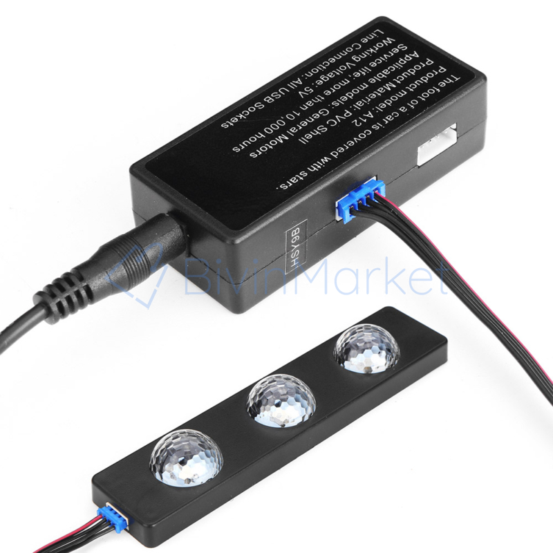 Discogömb hatású, RGB LED lábtérvilágítás autóba / távirányítóval, USB-s