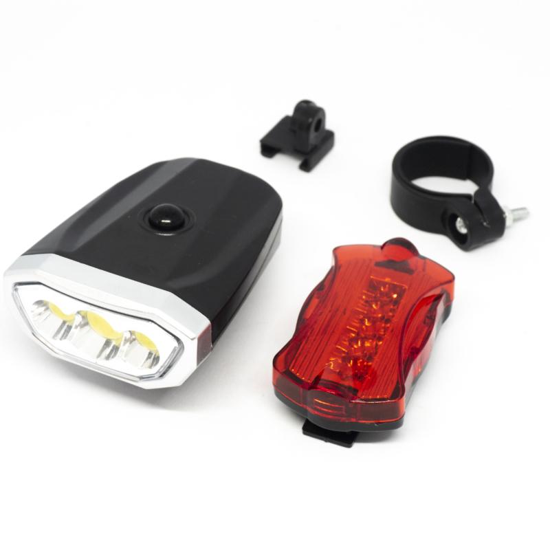 LED-es kerékpár lámpa szett / első és hátsó / elemes (16766)