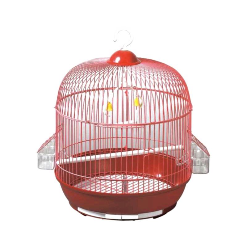 Felakasztható madár kalitka piros színben 33x41 cm – etetővel, csengővel és pihenő rúddal (BPS-14214)