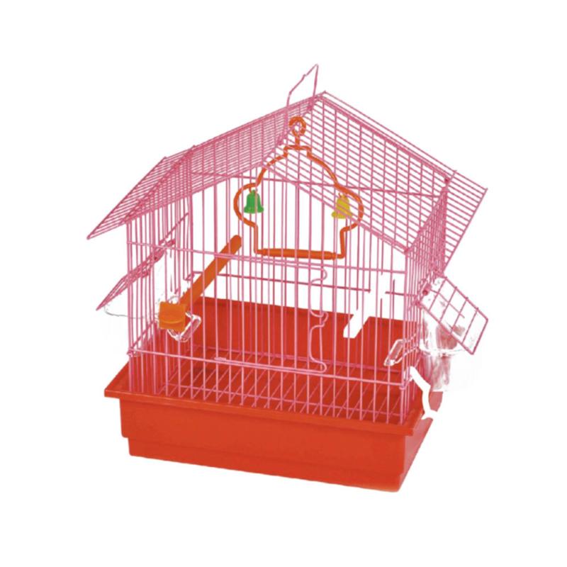 Madár kalitka piros színben 27,5x19,5x30 cm – csengővel és pihenő rúddal (BPS-1162)