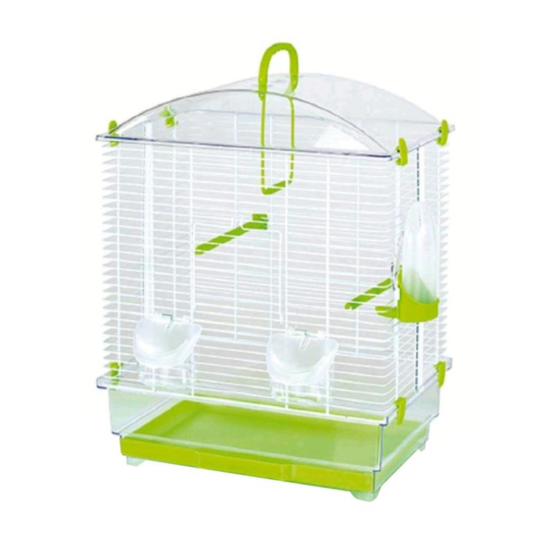 Felakasztható madár kalitka zöld színben – etetővel, itatóval (PSM-609107)