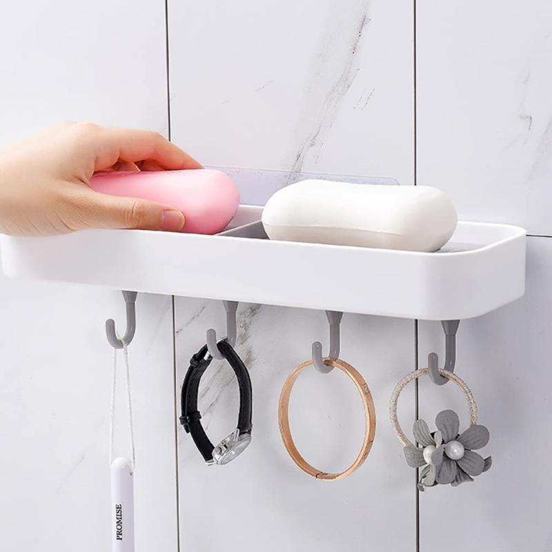 Multifunkciós szappantartó akasztókkal / öntapadós polc fürdőszobába és konyhába, 28 cm (185006)