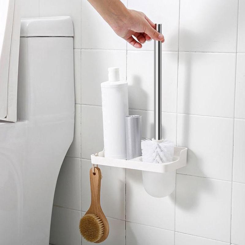 Öntapadós WC-kefe garnitúra fali tartóval és mini polccal (185017)