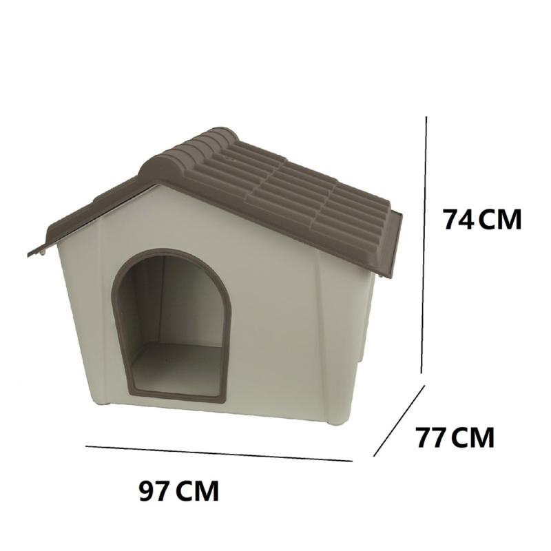 Műanyag kutyaház kül- és beltérre, L-es méret / 97x77x74 cm