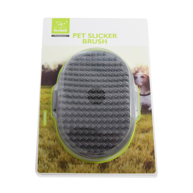 Műanyag kézre húzható kutyakefe - szürke
