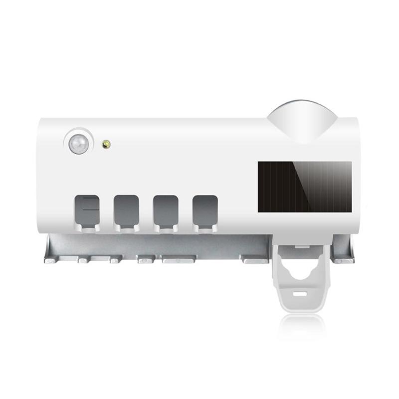 Multifunkciós fogkefe sterilizáló dokk, falra helyezhető / fogrém adagolóval
