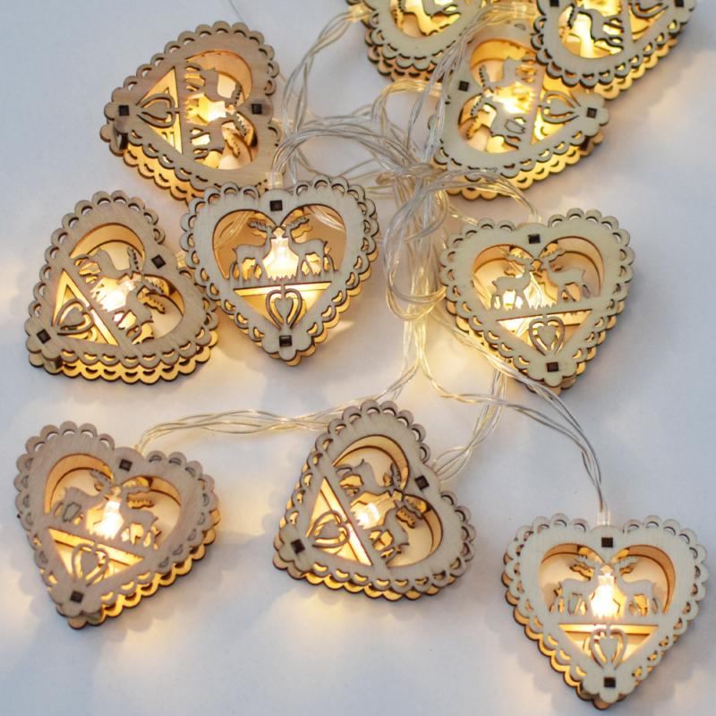 Prémium karácsonyi fa LED-füzér / 10 db LED, ünnepi szívecske mintás (1101665)