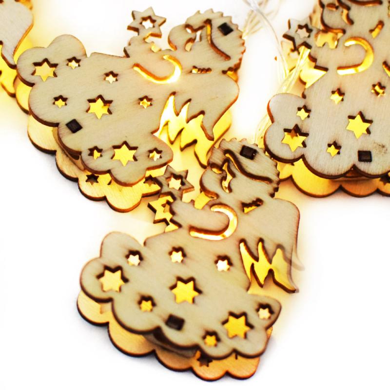 Prémium karácsonyi LED-füzér fa figurákkal / 10 db LED, angyalmintás (1101667)