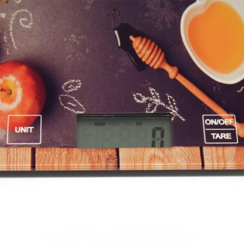 Digitális konyhai mérleg, érintés érzékelővel – gránátalmás mintával / 5 kg-ig