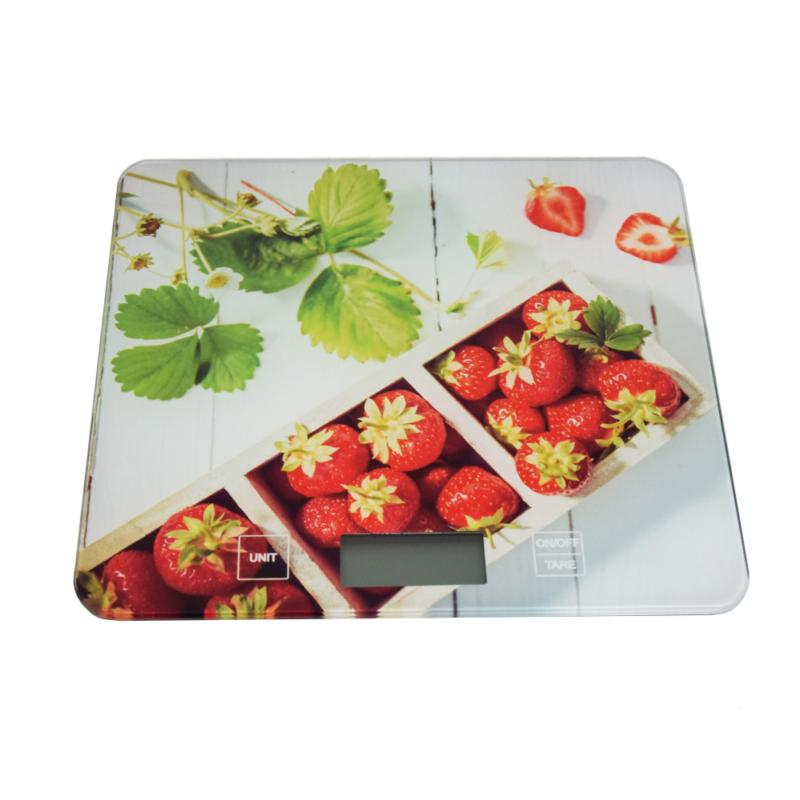 Digitális konyhai mérleg, érintés érzékelővel – epres mintával / 5 kg-ig