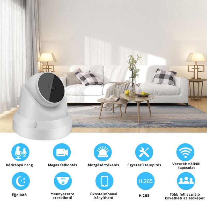 V380 C19 WiFi smart kamera / telefonról vezérelhető, éjjellátó PTZ biztonsági kamera mozgásérzékelővel