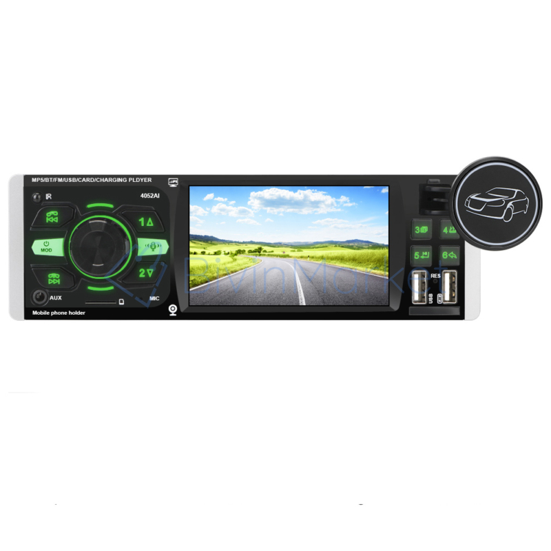 """MP5 multimédiás autórádió / Bluetooth, MirrorLink, 4.1"""" képernyő – autós fejegység, videó és zenelejátszó + FM rádió"""