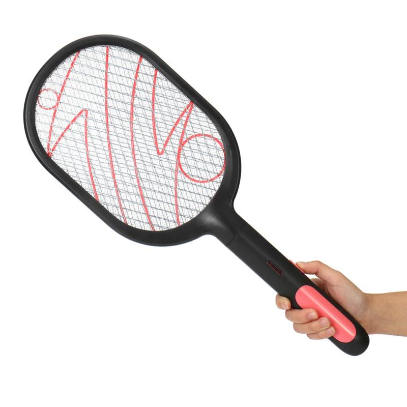 Világító elektromos légycsapó és szúnyogirtó teniszütő akkumulátorral - fekete