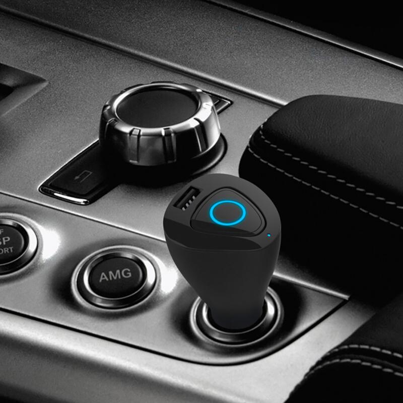 Bluetooth headset és USB töltő autóba – szivargyújtós / fekete (R6000)