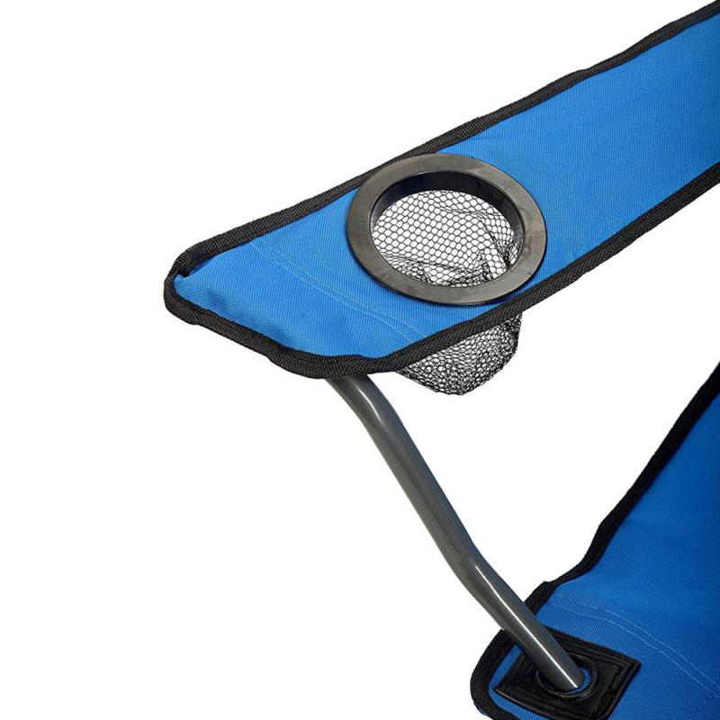 Összecsukható kempingszék pohártartóval / horgász szék - kék