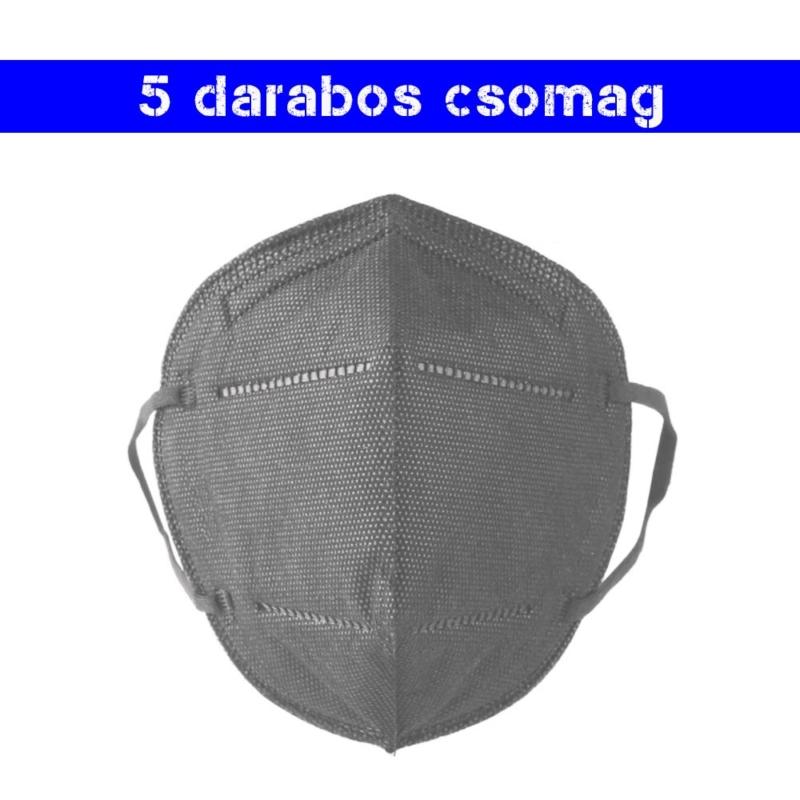 Szürke KN95 légzésvédő arcmaszk / szájmaszk (FFP2) - 5 darabos csomag