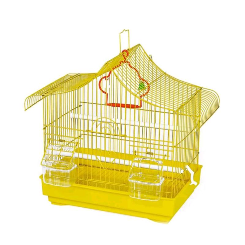 Felakasztható madár kalitka sárga színben – etetővel, itatóval, kivehető tálcával (BPS-14209)