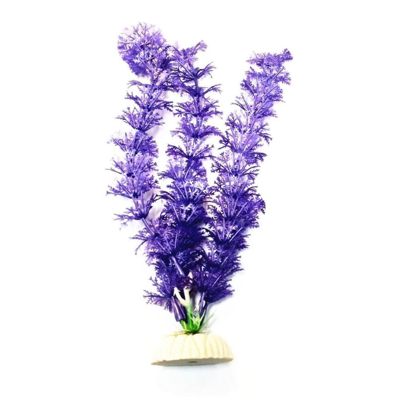Akvárium dekoráció – lila műnövény, kis levelekkel (BPS-6756)