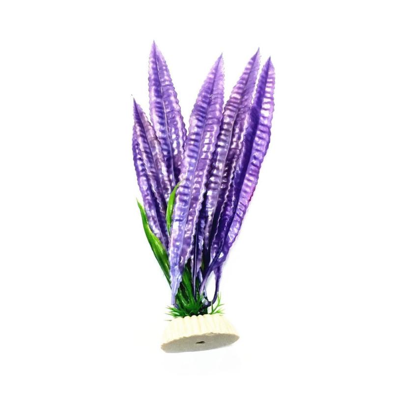 Akvárium dekoráció – lila műnövény, nagy levelekkel (BPS-6756)