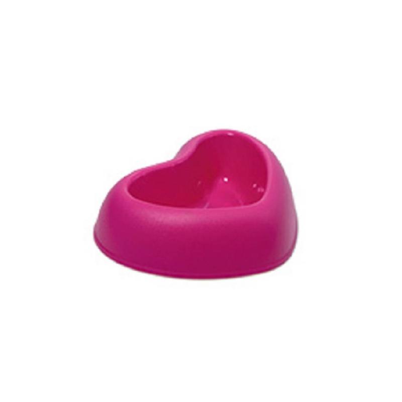 Szív formájú etető és itató tál – csúszásmentes / rózsaszín (PSM-609031)
