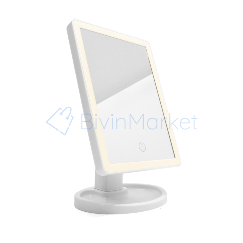LED-es sminktükör - Négyszögletű, 360°-ban elfogatható