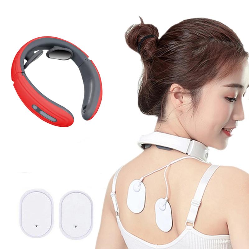 Intelligens nyakmasszírozó / Akkumulátoros, elektromos izomstimuláló készülék – piros