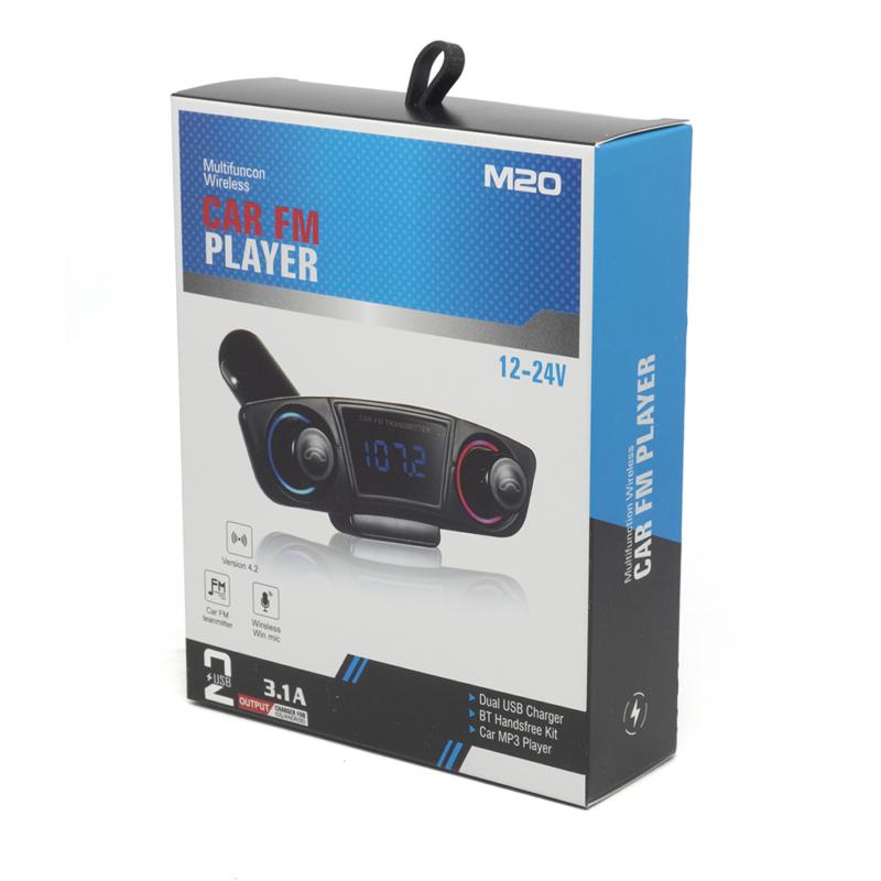 M20 autórádió formájú Bluetooth FM transzmitter LED kijelzővel / 2 db USB-vel