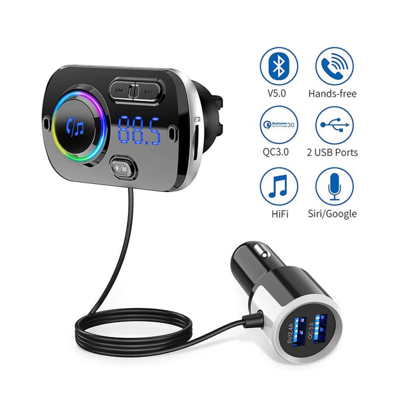 Szellőzőrácsra csíptethető, Bluetooth FM transzmitter, kihangosító és USB töltő