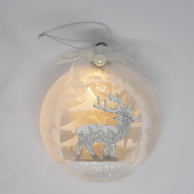 Csillámos karácsonyi szarvas-dísz – ledfénnyel, ezüst