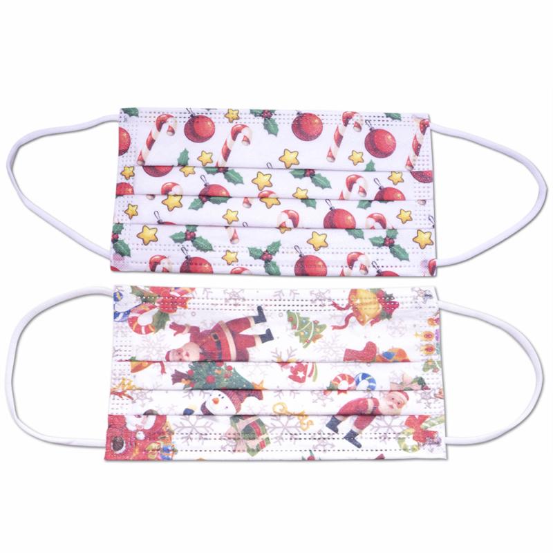 3 rétegű szájmaszk karácsonyi mintával / 10 darabos csomag