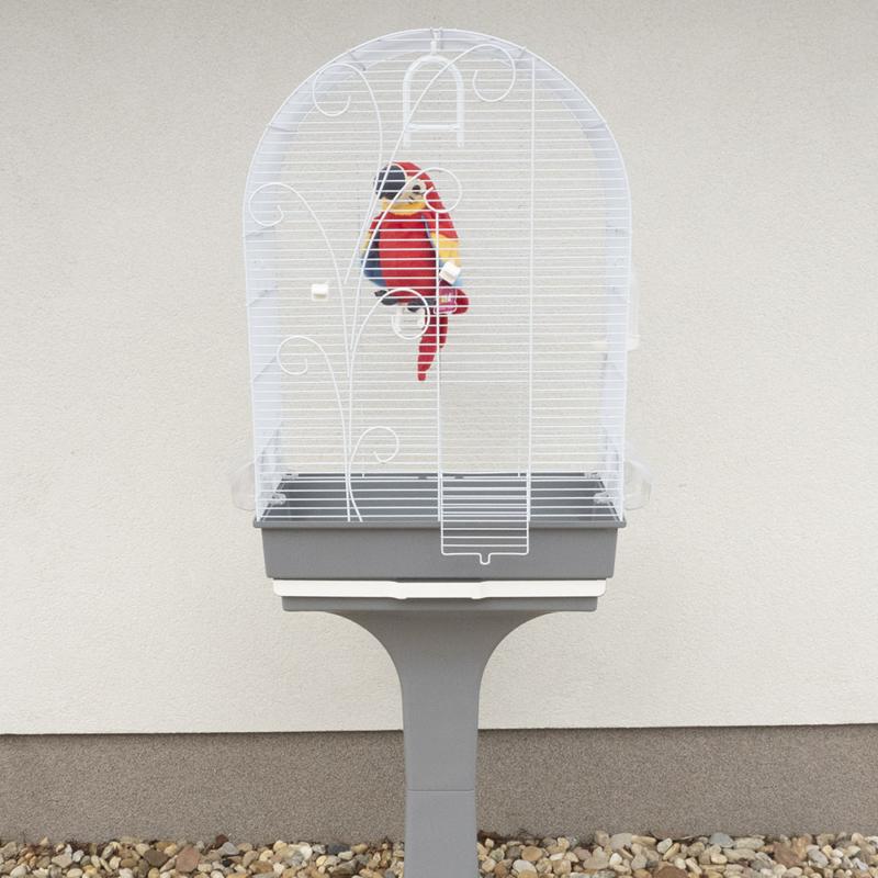 Lábon álló madárkalitka, etetővel, itatóval, kivehető tálcával