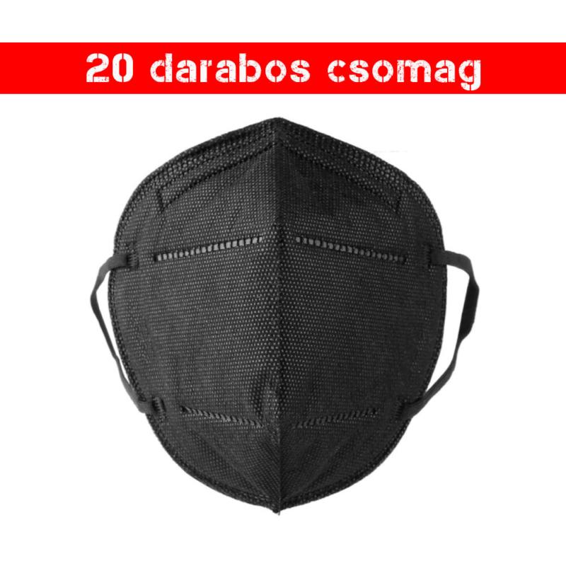 Fekete KN95 légzésvédő arcmaszk / szájmaszk (FFP2) - 20 darabos csomag
