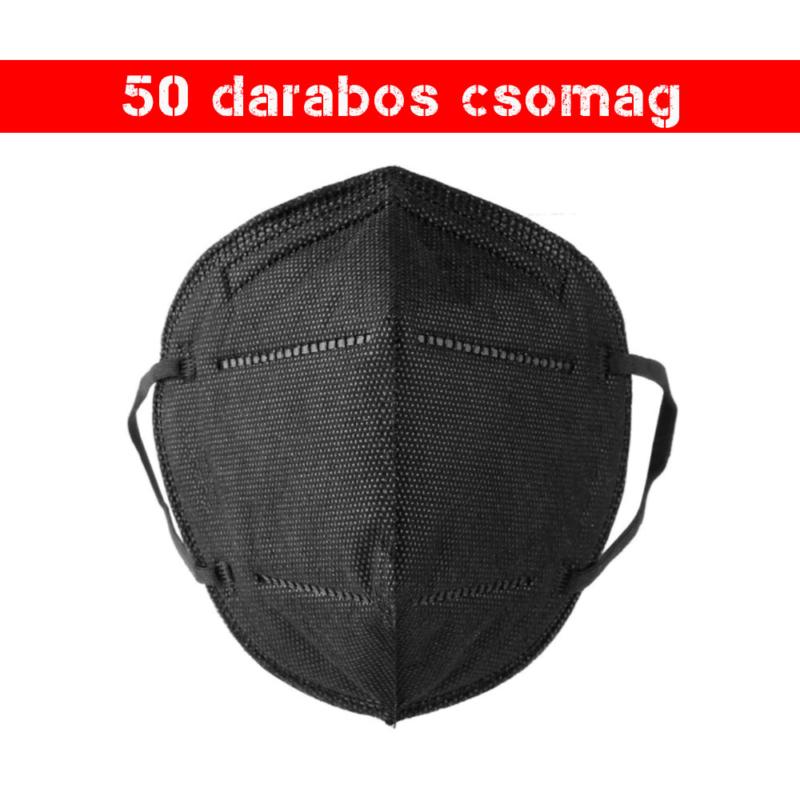 Fekete KN95 légzésvédő arcmaszk / szájmaszk (FFP2) - 50 darabos csomag