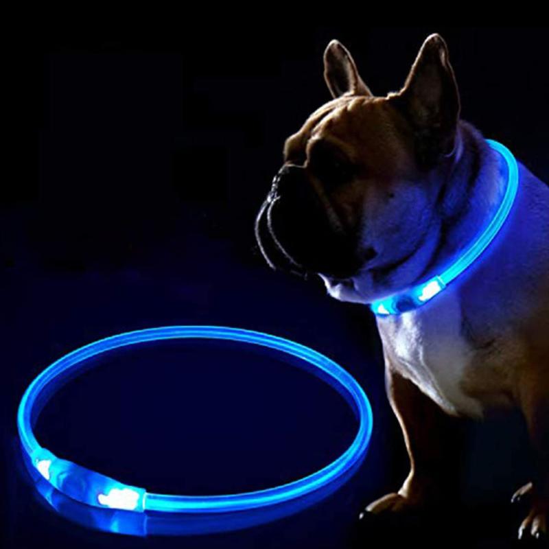 Kicsi világító LED-es nyakörv / méretre vágható, USB-s - kék