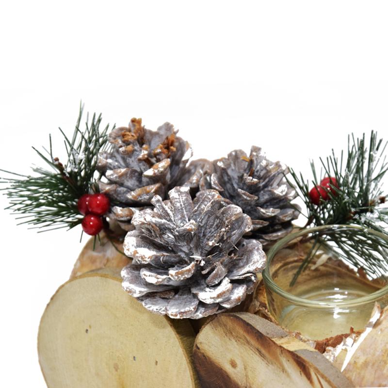 Karácsonyi fa vonat / asztaldísz mécsestartóval, két kocsival
