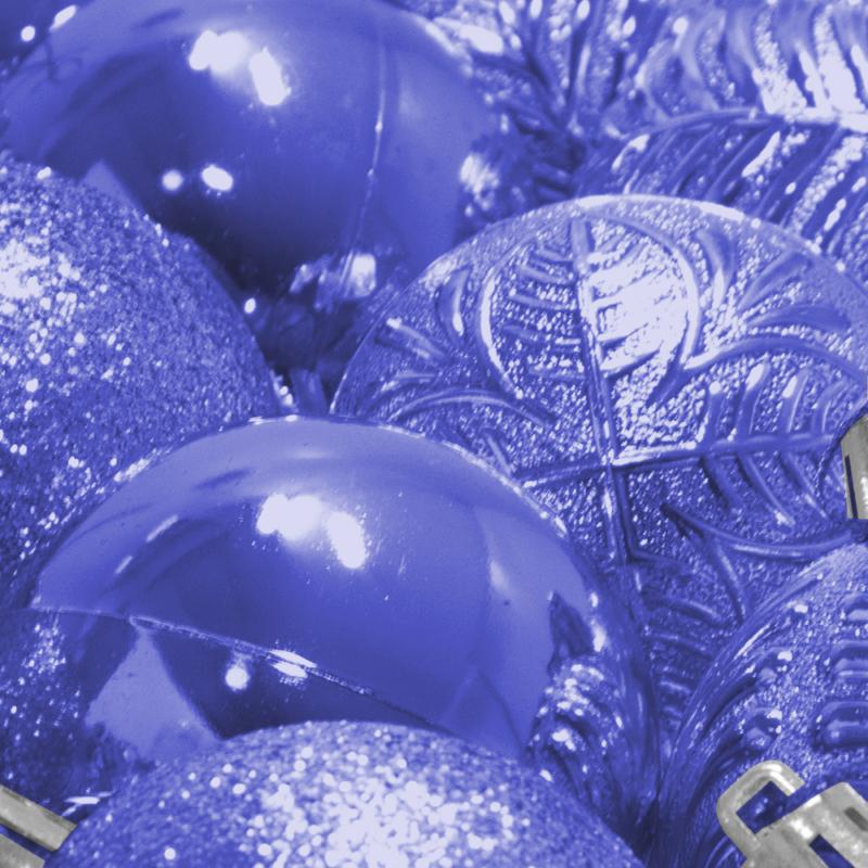 Karácsonyfa gömb készlet, 24 darabos, kék
