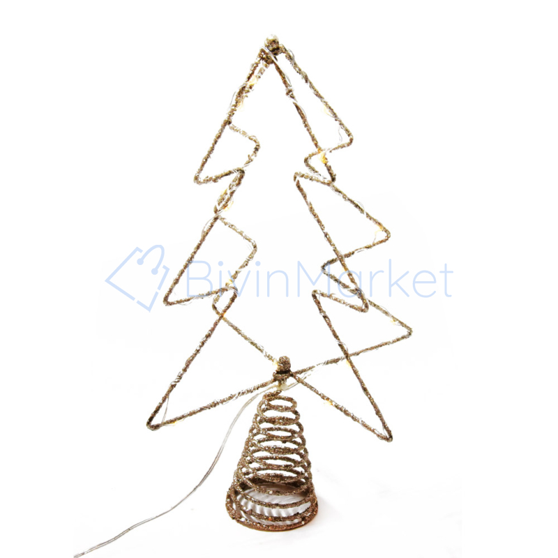 Csúcsdísz karácsonyfára / 34 cm, fenyő alakú