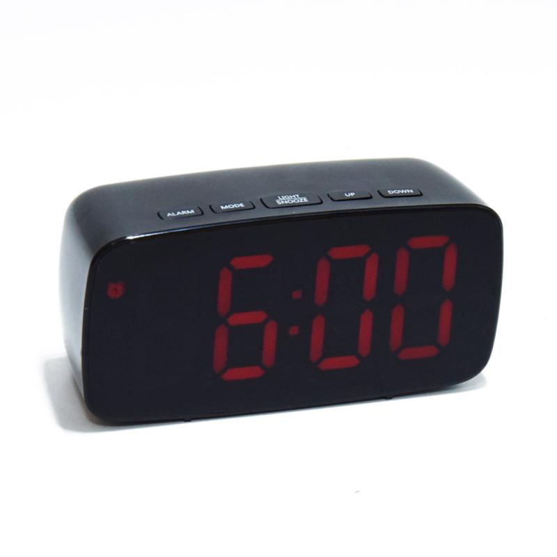 Nagy számlapos, LED ébresztőóra, piros fényű