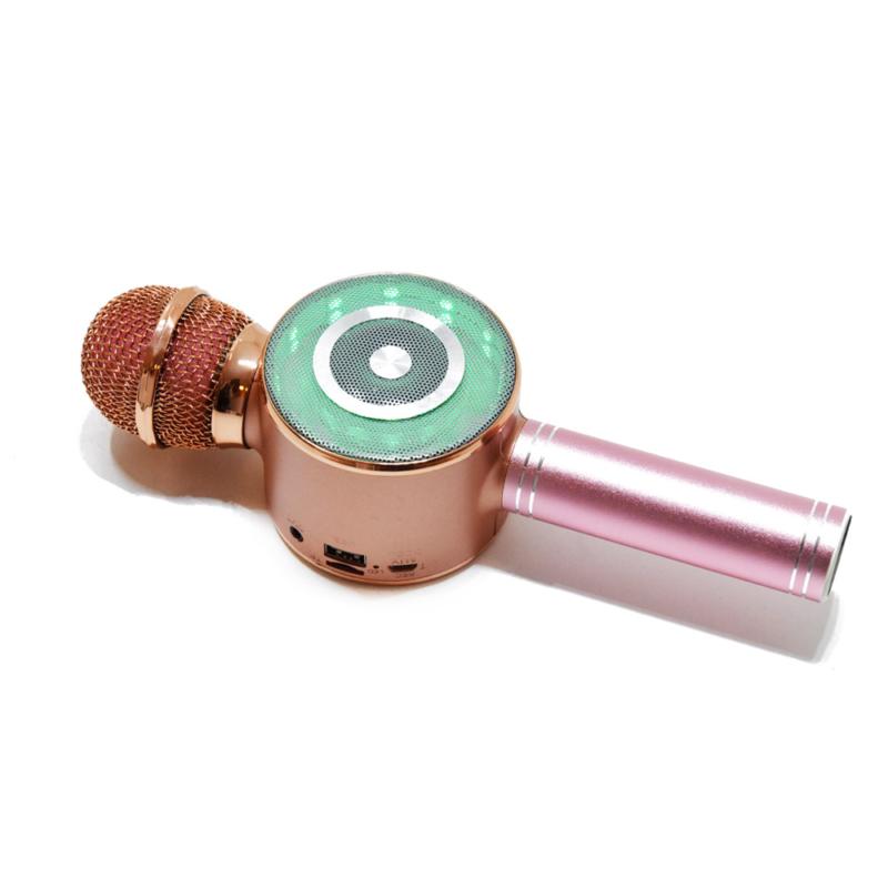 Vezeték nélküli karaoke mikrofon / beépített szabályozókkal, fényekkel és hangszóróval