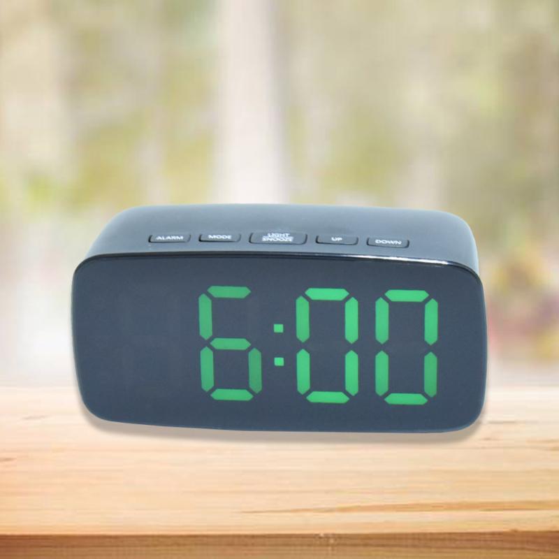 Nagy számlapos, LED ébresztőóra, zöld fényű
