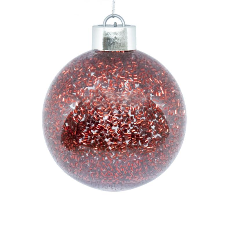 Világító gömb karácsonyfára – ledfényes fenyődísz, vörös