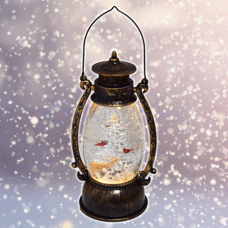 Karácsonyi LED lámpás, 26 cm / Zenél, világít, havas fenyővel (KE-940)