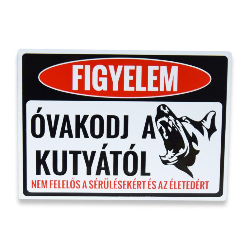 Figyelmeztető kutyás tábla - ajtóra, kapura / 25 x 18 cm