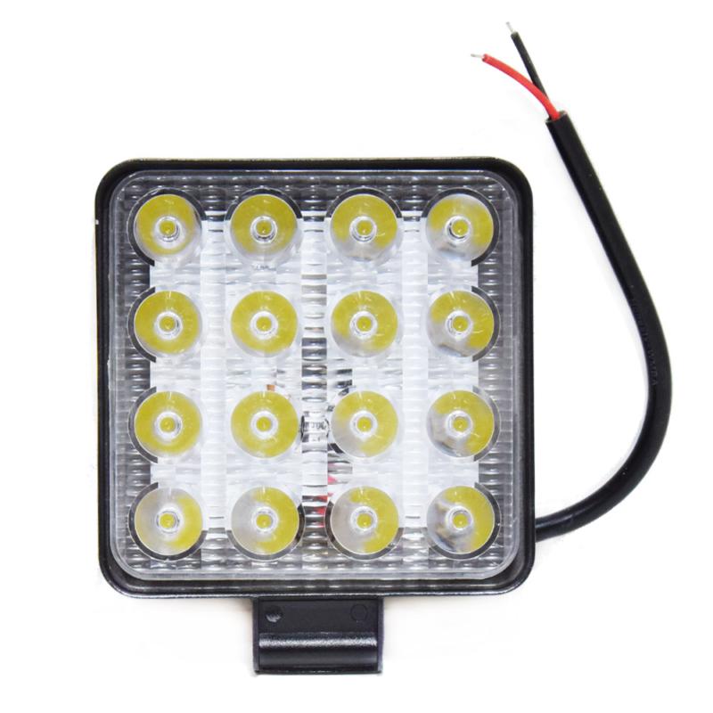 Szuper erős LED munkalámpa, szúrófény járművekre - 48 W / szögletes