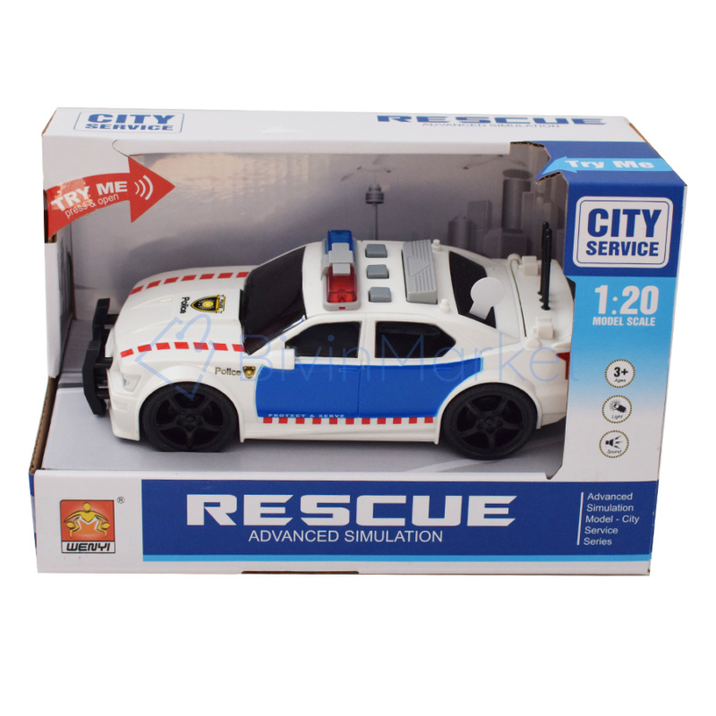 Zenélő, világító, méretarányos, autópálya rendőrautó (WY500D)