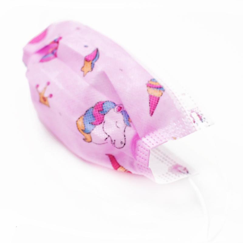 Háromrétegű gyermekszájmaszk csomag vidám mintákkal - 50 darabos, rózsaszín