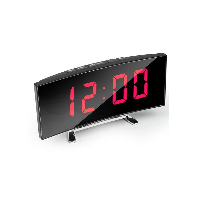 Hajlított tükrös LED ébresztőóra hőmérővel, piros számokkal